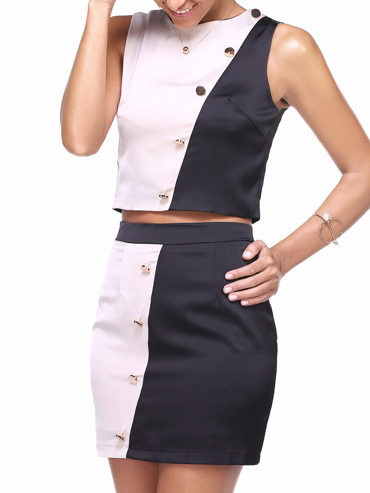 Simple Zipper Crop Top and Color Block Bodycon Skirt Women's Twinset - BLACK ONE SIZE(FIT SIZE XS TO M)