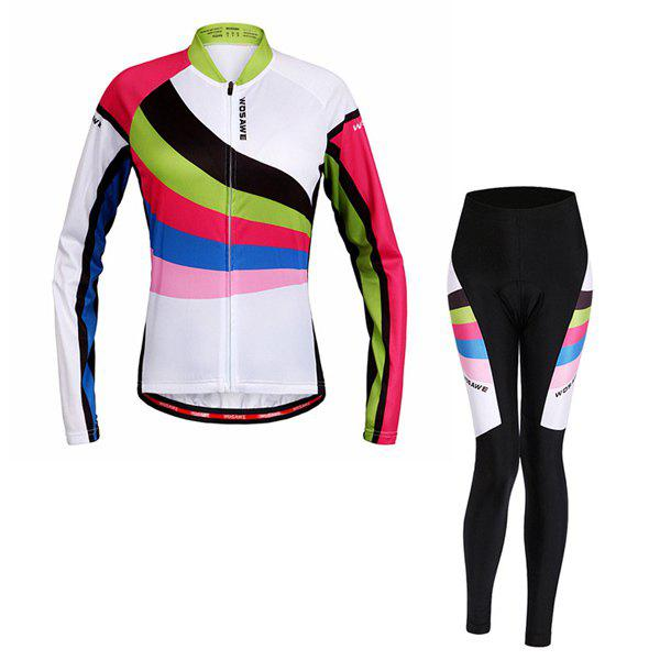 High Quality Breathable Long Sleeve Jersey + Pants Outdoor Cycling Suits For Women - COLORMIX L