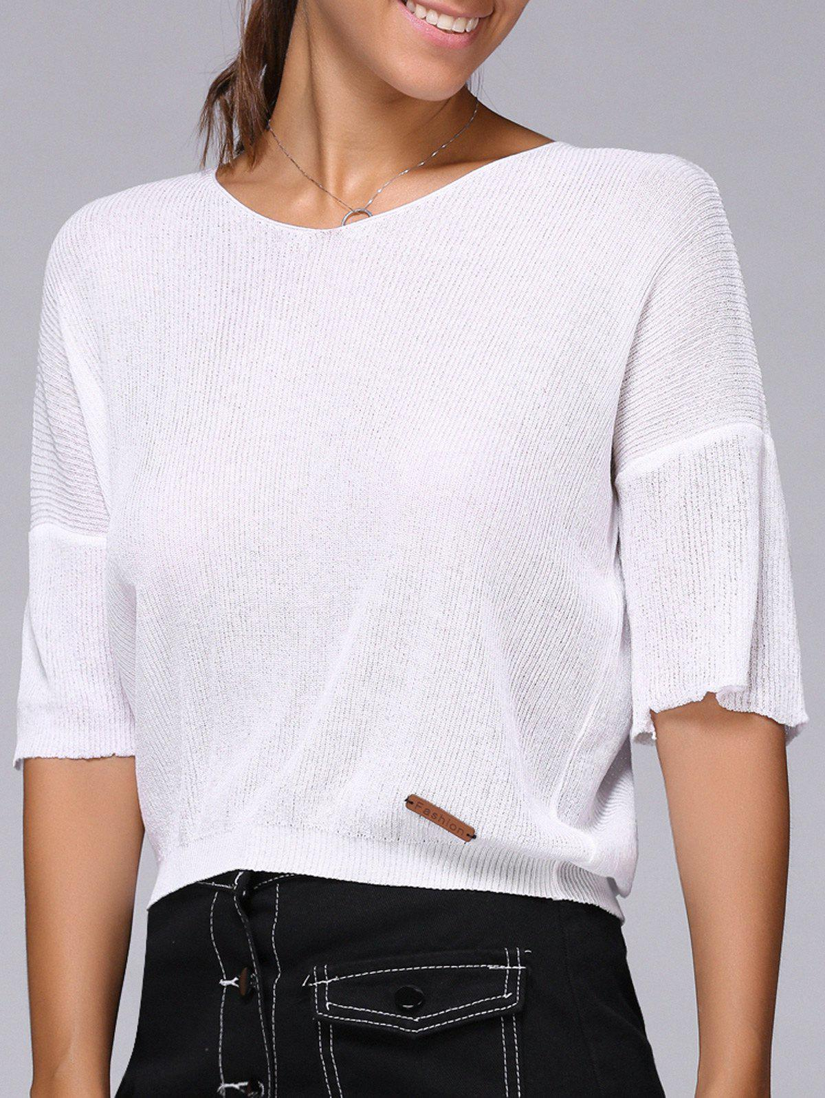 Drop Shoulder Cropped Knitted Top cropped wide sleeve top