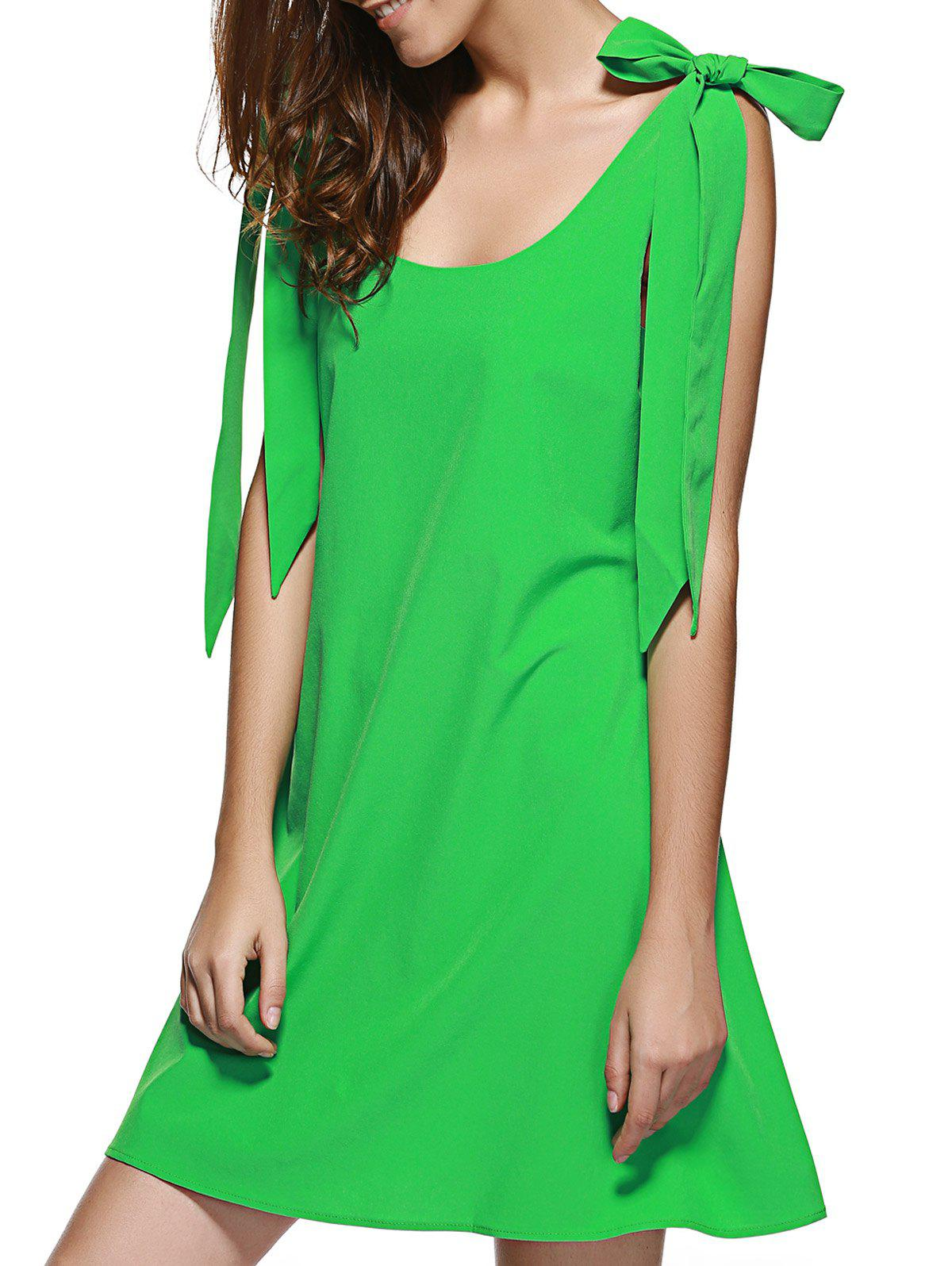 Bowtie Backless U Neck A Line Dress - GREEN L