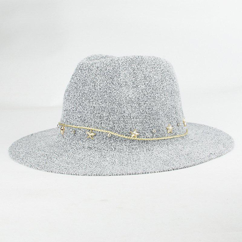 Street Fashion Star Rivet Rope Embellished Sunscreen Sun Hat For Women