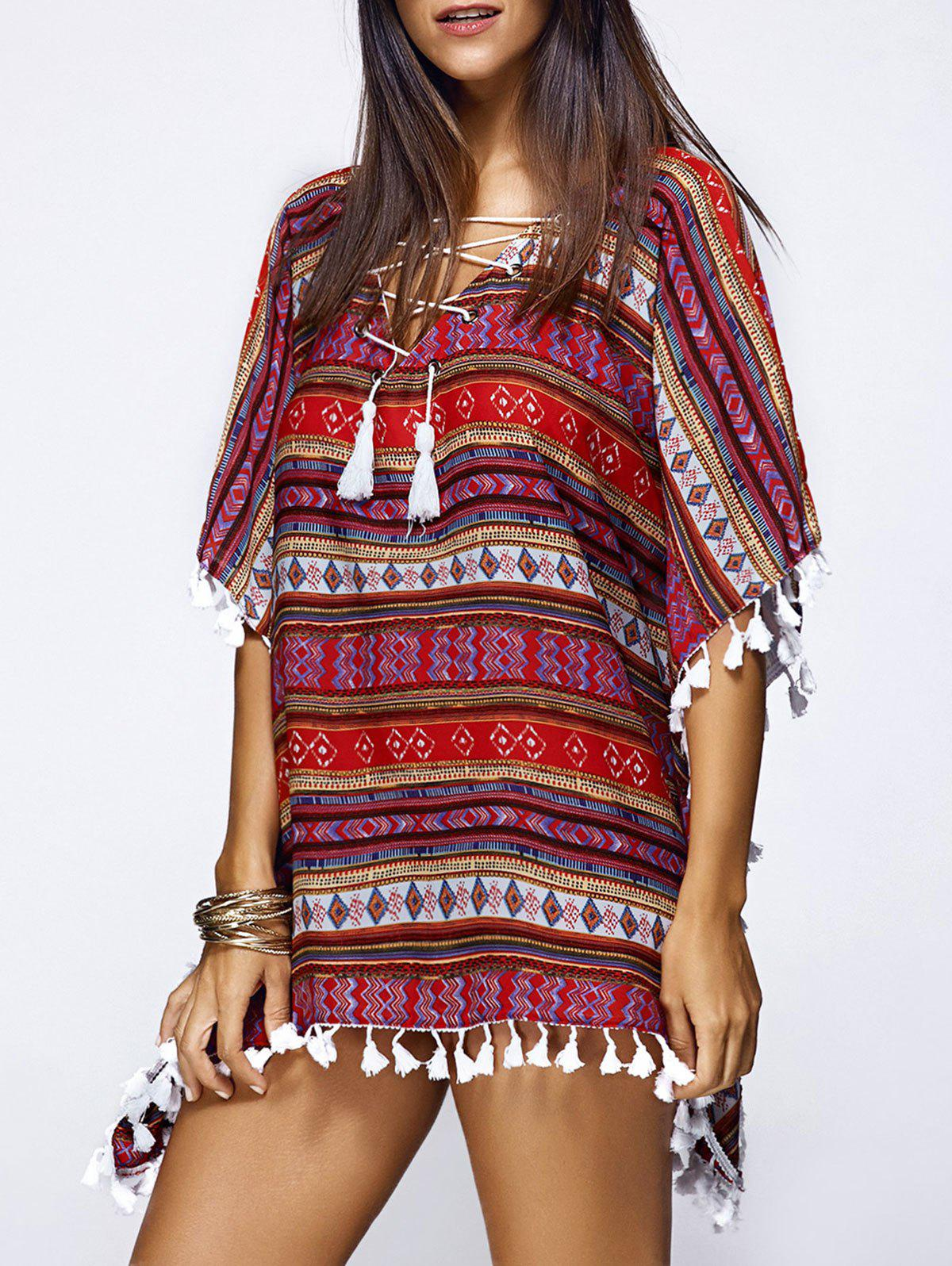 Trendy Criss Cross High Low Tribal Print Blouse - COLORMIX S