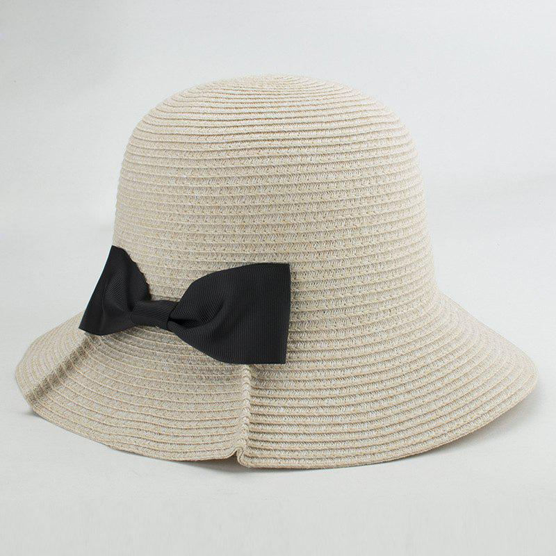 Street Fashion Black Bowknot Embellished Sunscreen Straw Bucket Hat For Women - OFF WHITE
