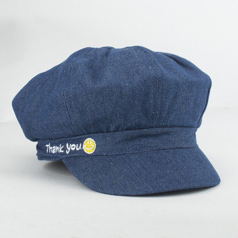 Street Fashion Letters and Smilling Face Embroidery Sunscreen Newsboy Hat For Women - DEEP BLUE