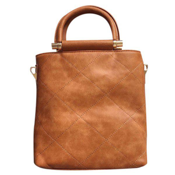 Graceful Zip and Checked Design Women's Tote Bag - BROWN