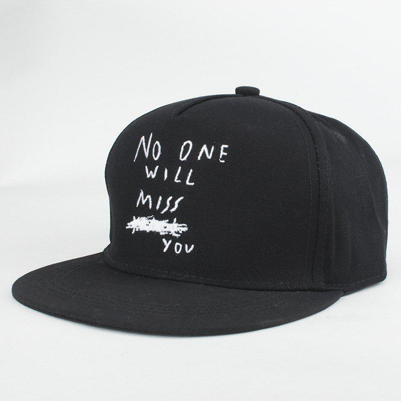 Street Fashion Hand Written Letters Sentence Embroidery Fresh Baseball Hat For Women - BLACK