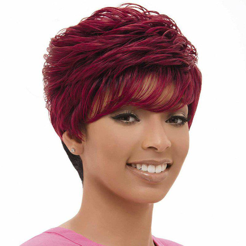 Fashion Women's Black and Red Short Shaggy Side Bang Synthetic Wig - COLORMIX