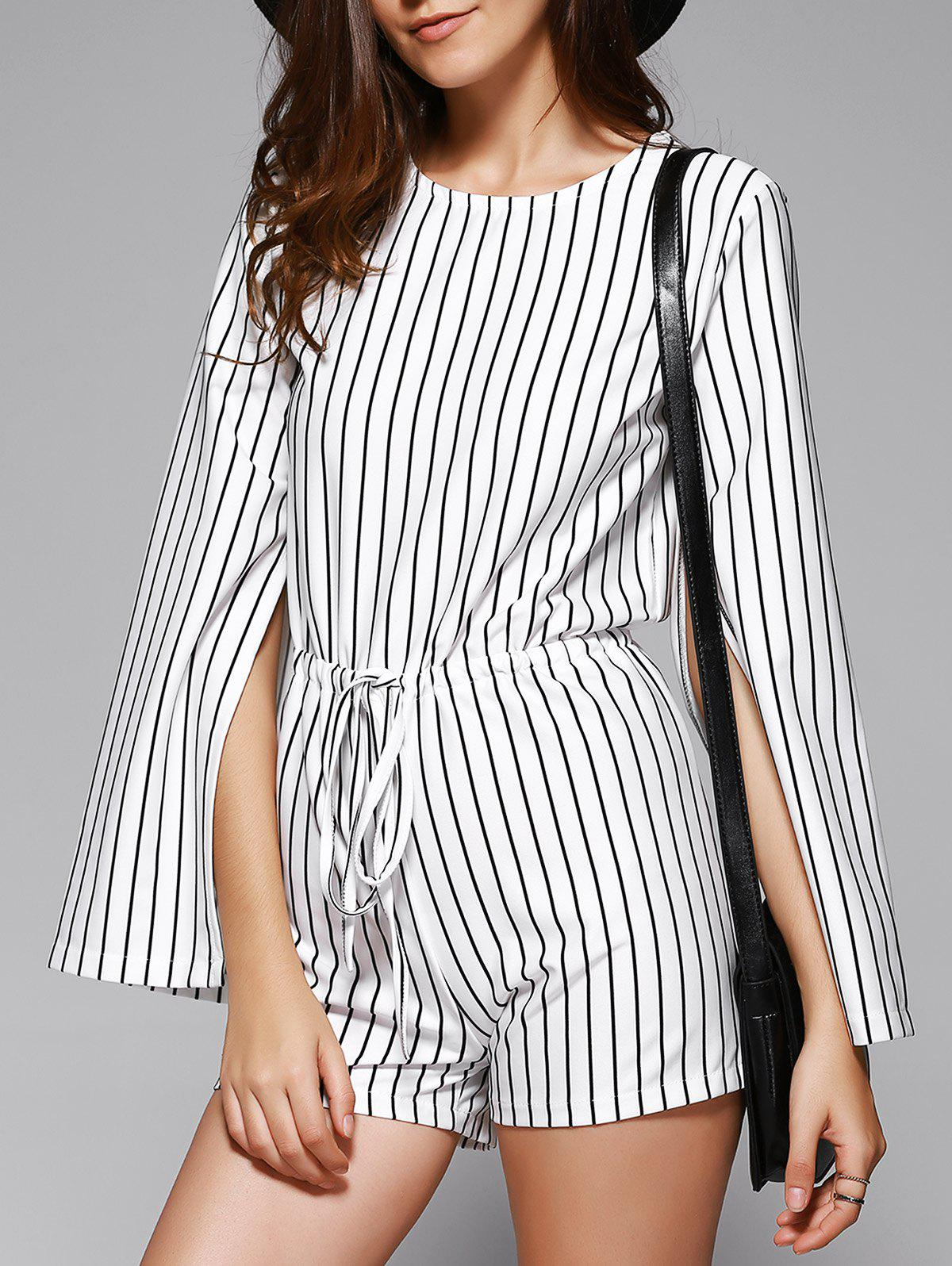 Elegant Women's Striped Cape Sleeve Cut Out Romper - WHITE/BLACK ONE SIZE(FIT SIZE XS TO M)