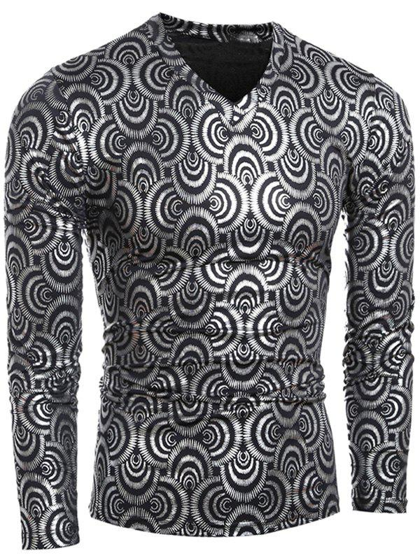 Metal Style V-Neck Geometric Pattern Long Sleeve Men's T-Shirt - GRAY XL
