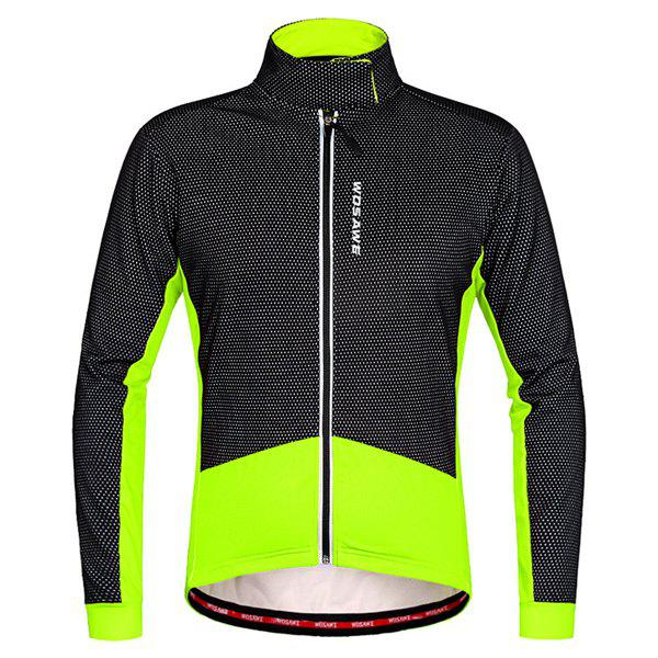 Fashionable Windproof Thermal Fleece Cycling Long Sleeve Jacket For Unisex wosawe thermal fleece winter cycling jackets sets waterproof windproof mens bike long coat sportswear pants bicycle tights