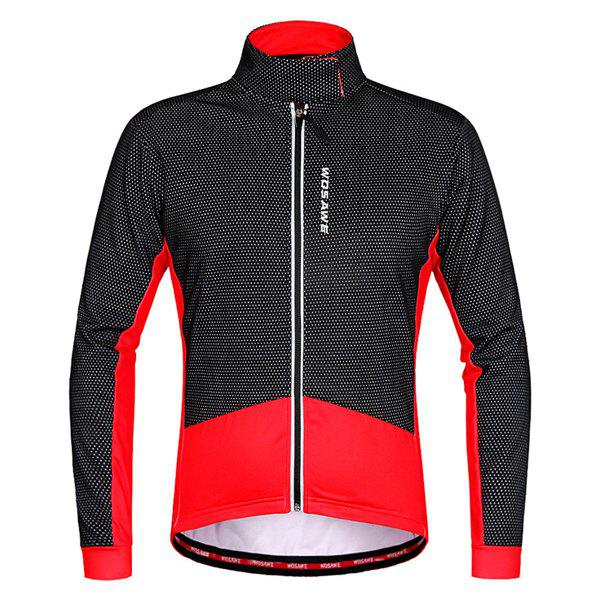 Fashionable Windproof Thermal Fleece Cycling Long Sleeve Jacket For Unisex - RED/BLACK M