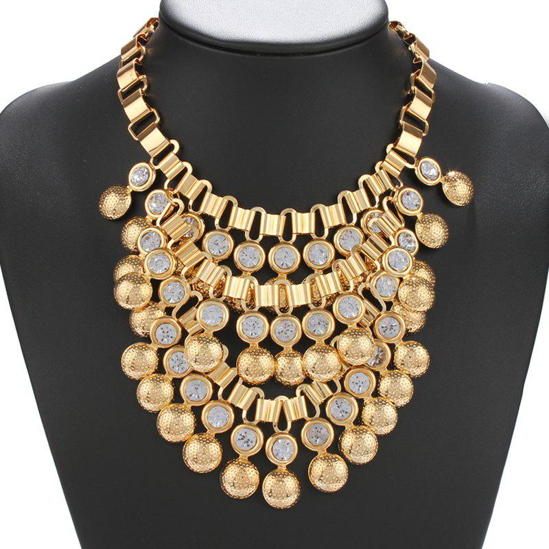 Waterdrop Shape Rhinestone Bib Necklace - GOLDEN