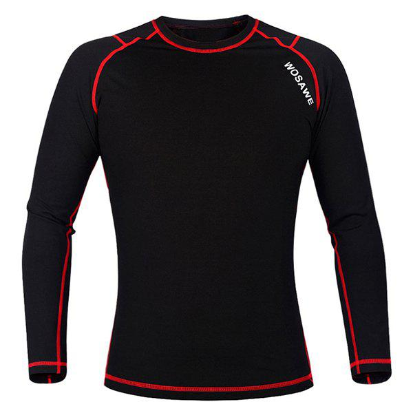 Chic Quality Warmth Thermal Fleece Base Layer Cycling Long Sleeve Jersey For Unisex - RED/BLACK L