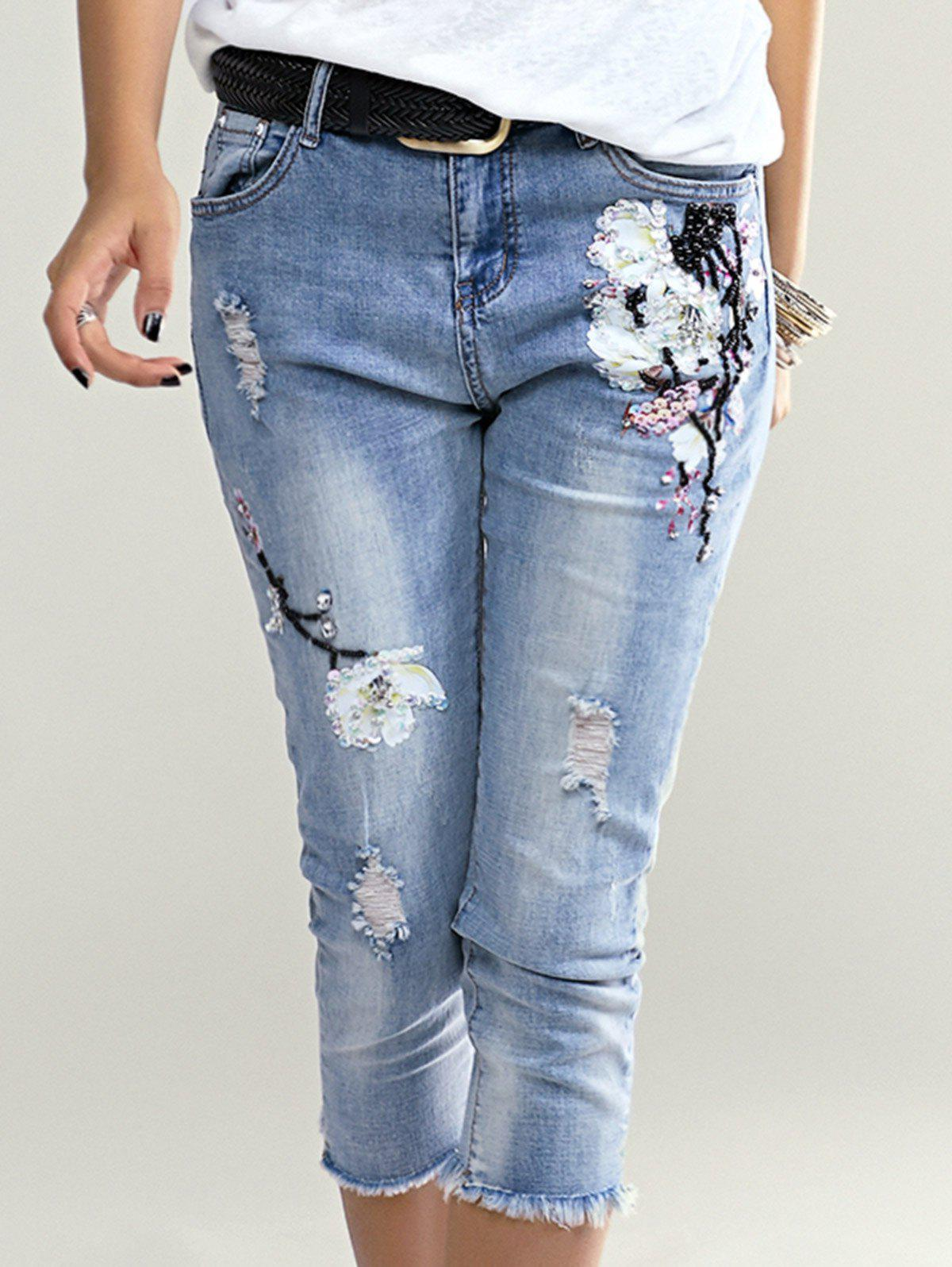 Stylish Floral Embroidered Beaded Denim Pants For Women - LIGHT BLUE ONE SIZE(FIT SIZE XS TO M)