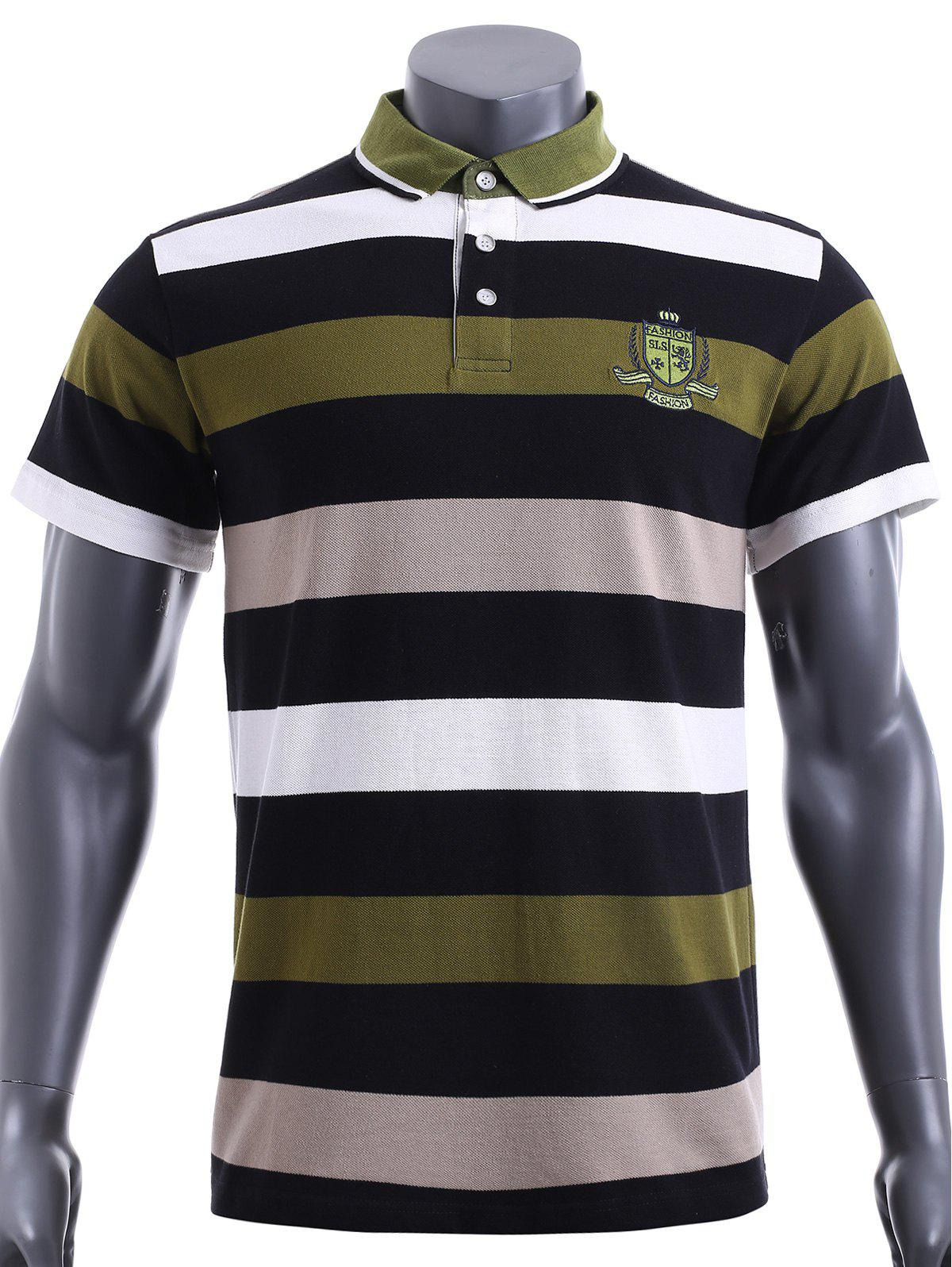 Slim Fit Stripe Short Sleeves Polo T-Shirt For Men - GREEN M