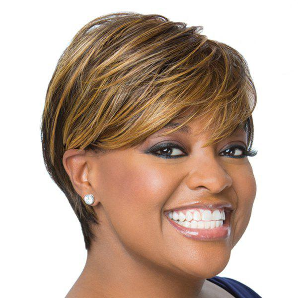 Shaggy Natural Straight  Inclined Bang Short Synthetic Mixed Color Wig For Women - COLORMIX