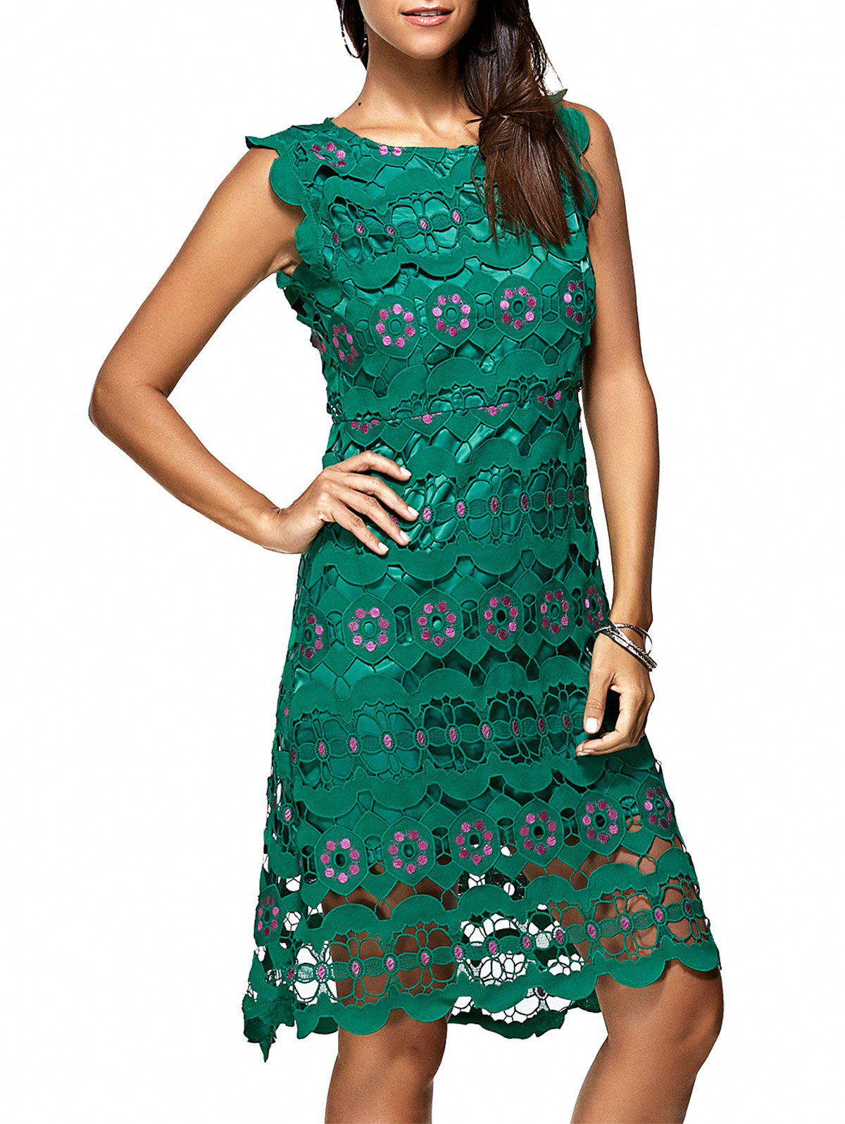 Graceful Embroidered Cutout  Lace Sheath Dress For Women - GREEN L