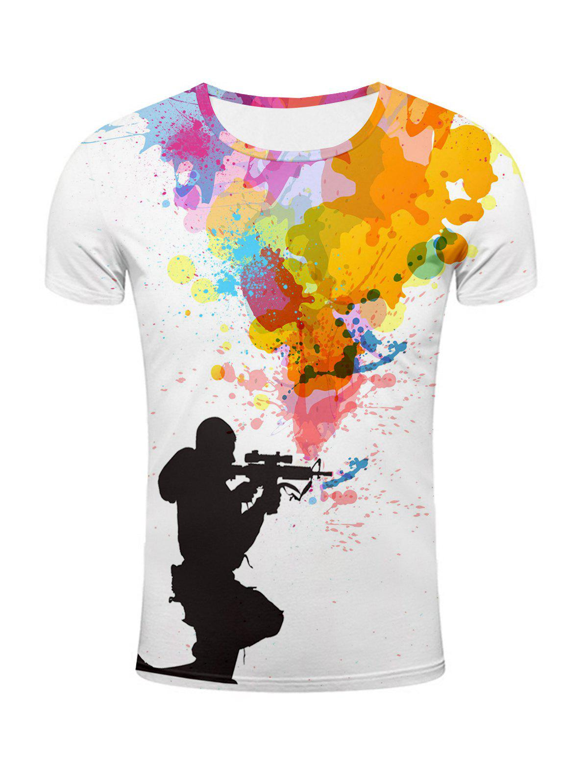 Sniper and Colorful Splatter Paint Printed T-Shirt - COLORMIX 2XL