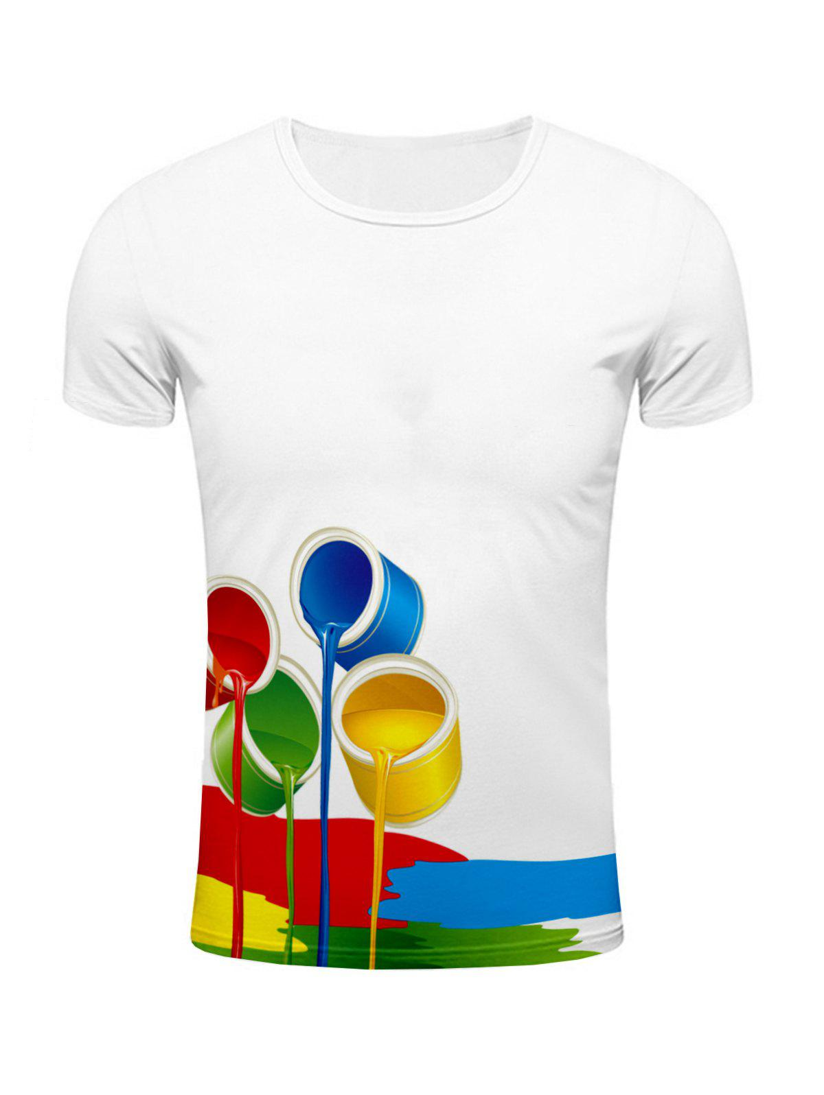 3D Colorful Paint Bucket Print Round Neck Short Sleeve Stylish Men's T-Shirt - WHITE 2XL