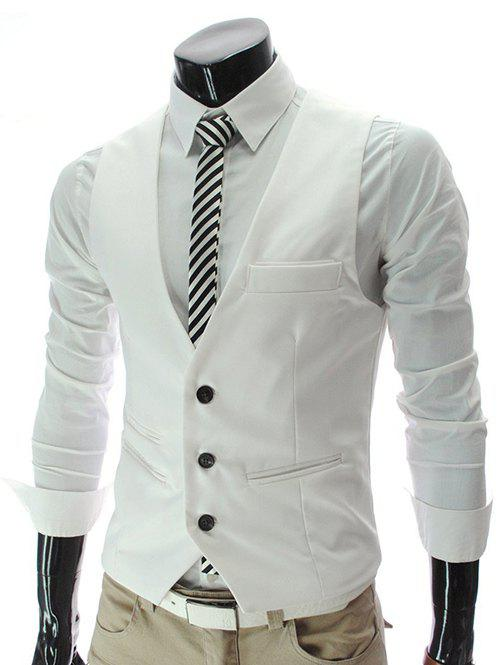 Single Breasted Edging Solid Color V-Neck Sleeveless Men's Waistcoat - WHITE XL