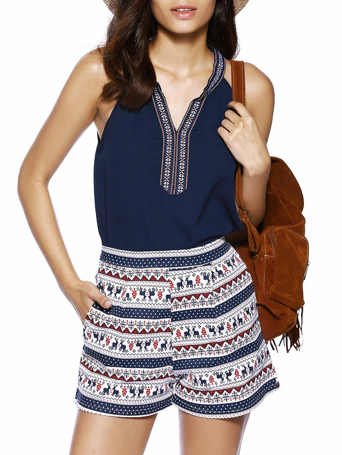 V Neck Bohemian Style Top and Ethnic Print Shorts - DEEP BLUE M