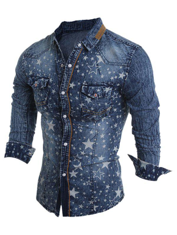Star Pattern Bleach Wash Turn-Down Collar Long Sleeve Men's Denim Shirt - DEEP BLUE 2XL