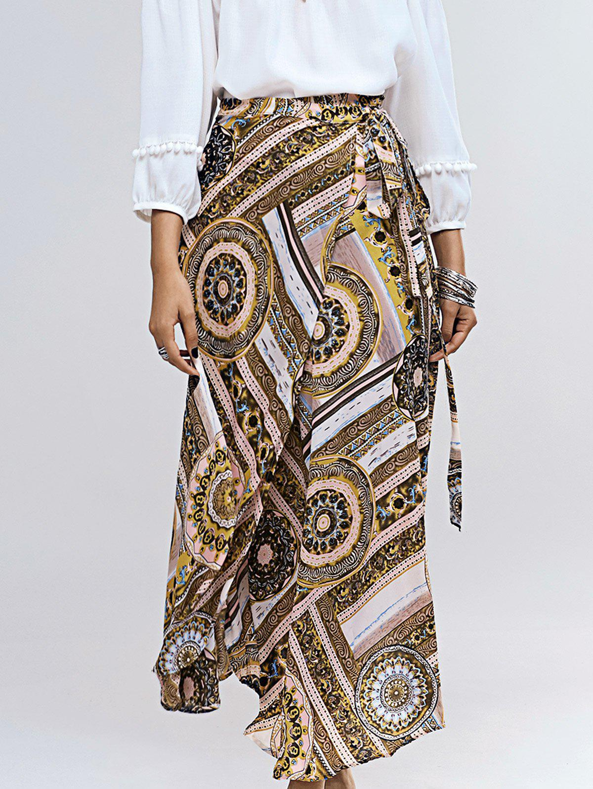 Vintage Abstract Pattern Tie Side Women's Asymmetrical Skirt - COLORMIX ONE SIZE(FIT SIZE XS TO M)