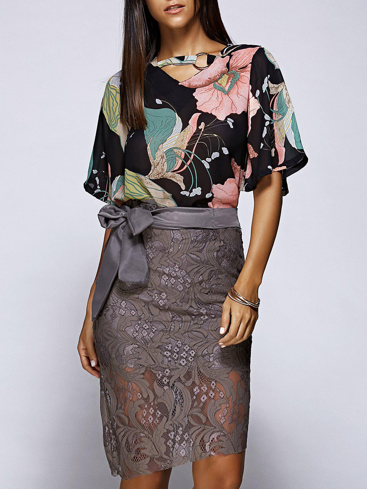 Stunning Floral Hollow Out Top and Lace Skirt Set For Women - COLORMIX M