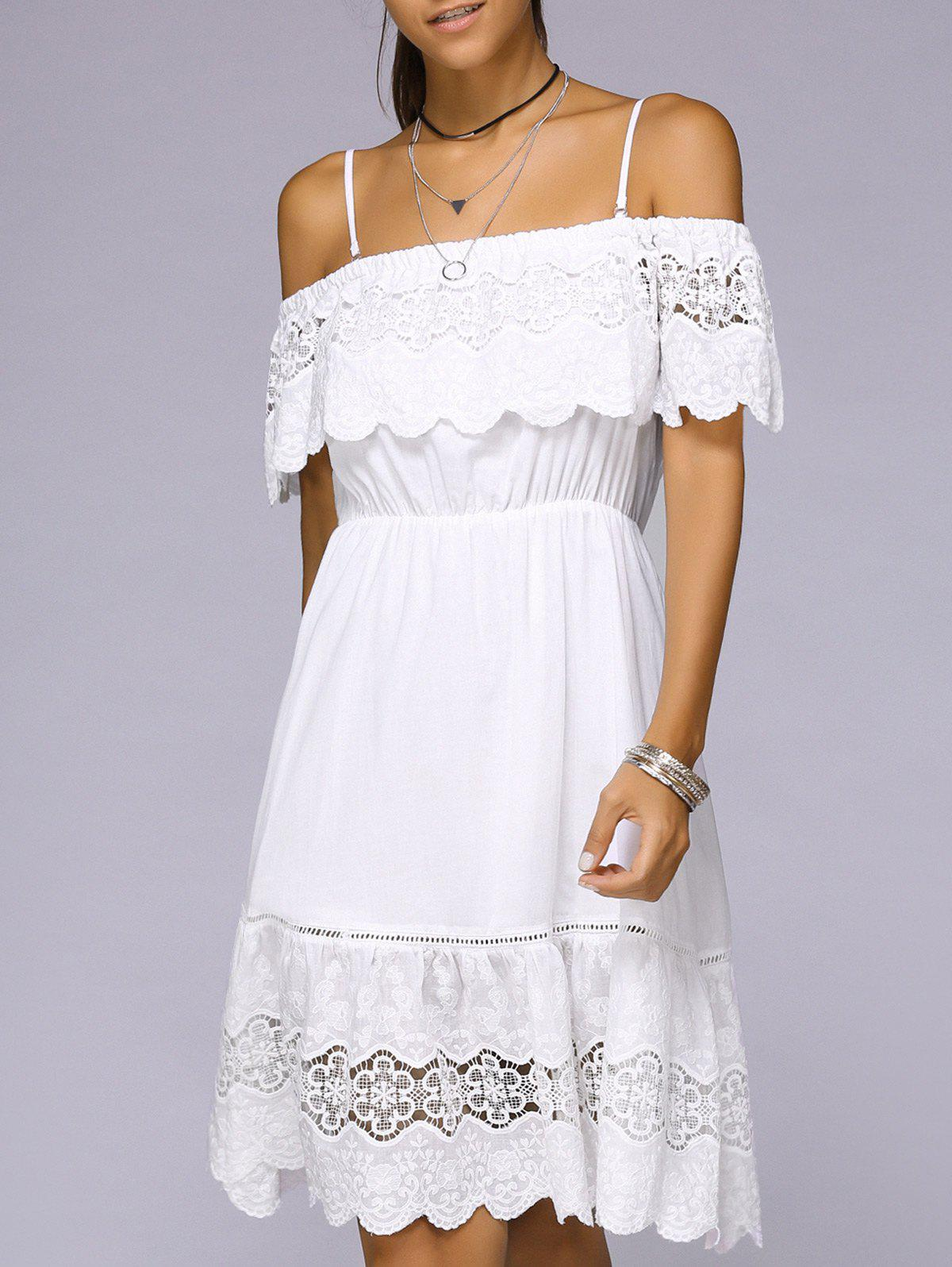Spaghetti Strap Crocheting White Mini Dress - WHITE L