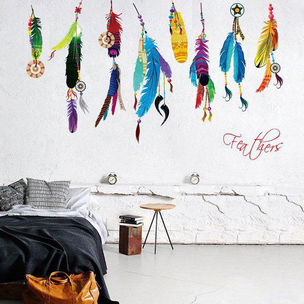 Novelty Colorful Feather Letter Embellished Decorative Wall Art StickerHome<br><br><br>Color: COLORMIX