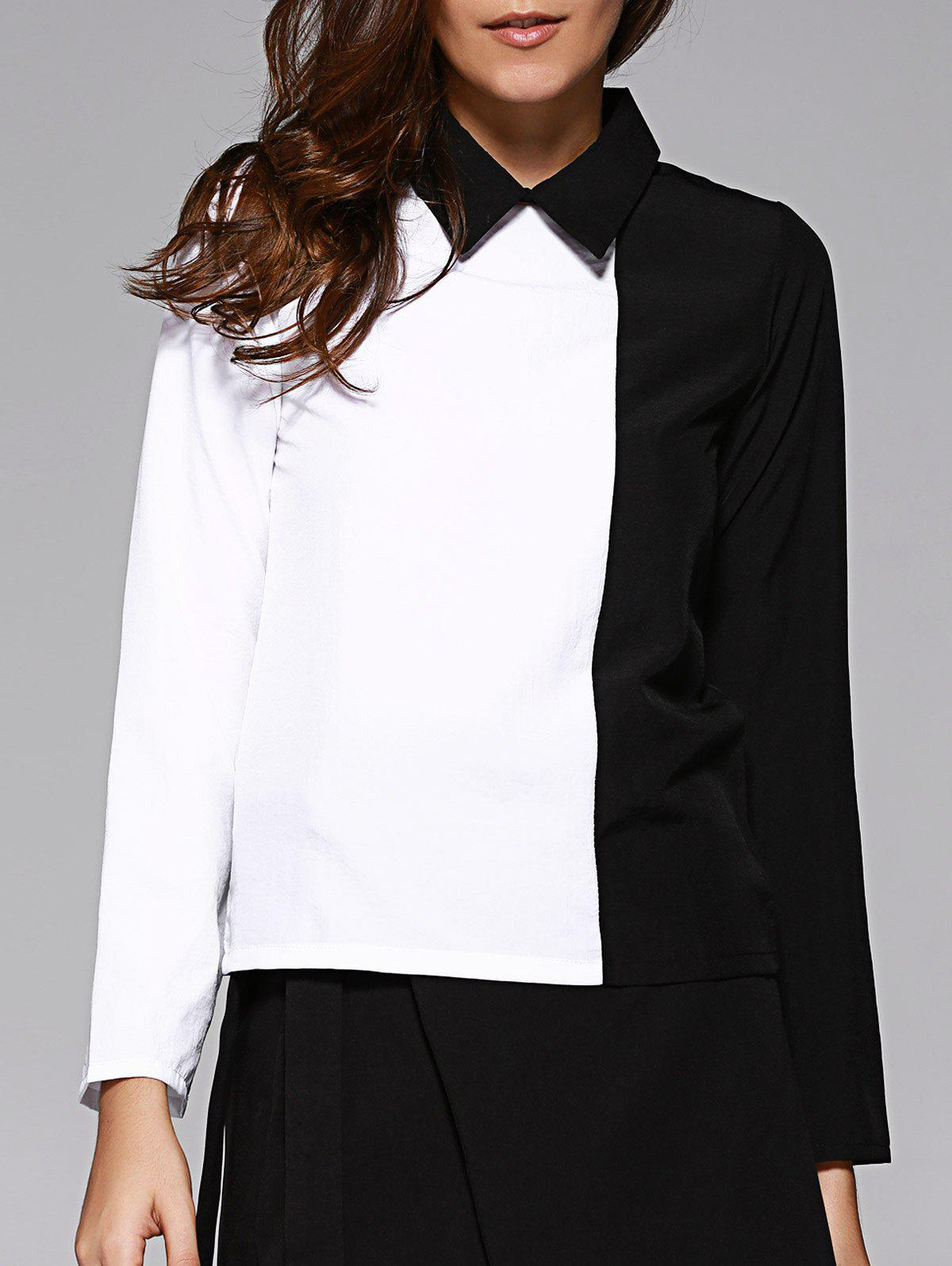 OL Color Block Flat Collar Chiffon Shirt For Women - WHITE/BLACK 2XL