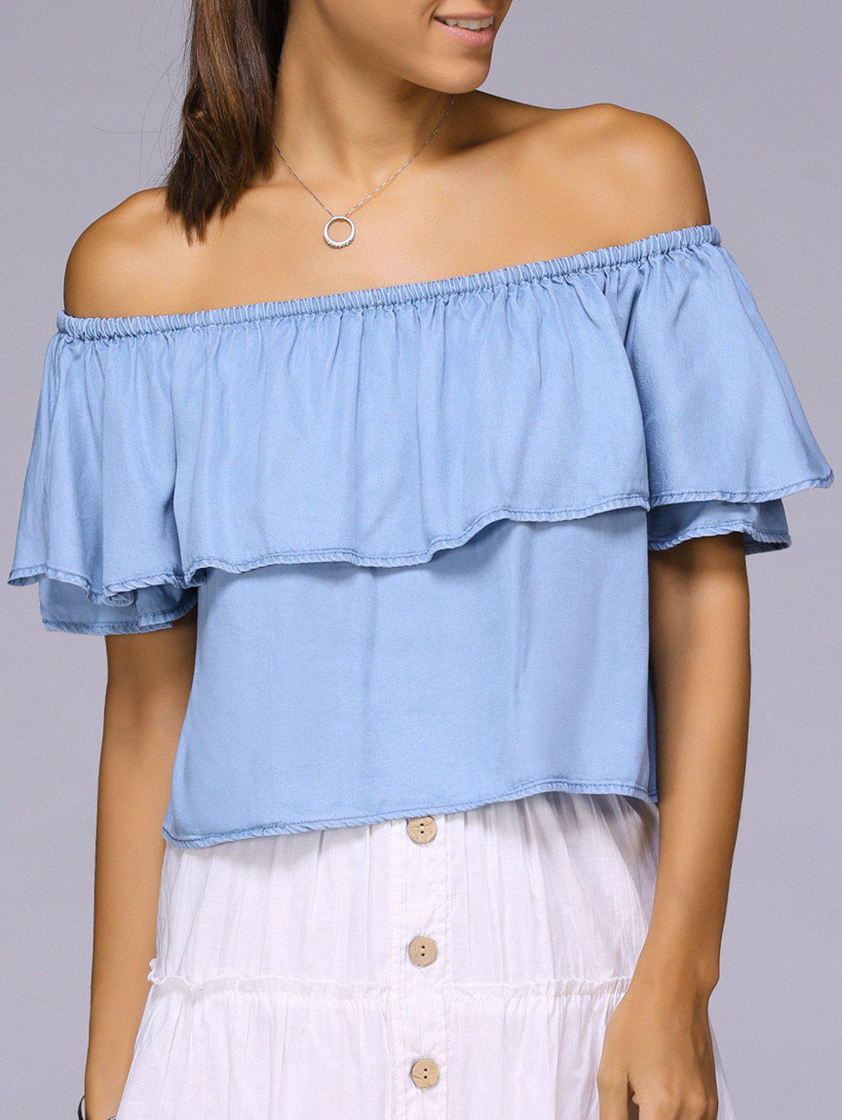 Off The Shoulder Flounced Solid Color Blouse - LIGHT BLUE M