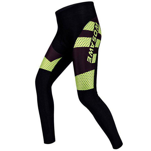 High Quality Polka Dot Pattern Breathable Gel Padded Tight Cycling Pants For Unisex - YELLOW/BLACK 2XL