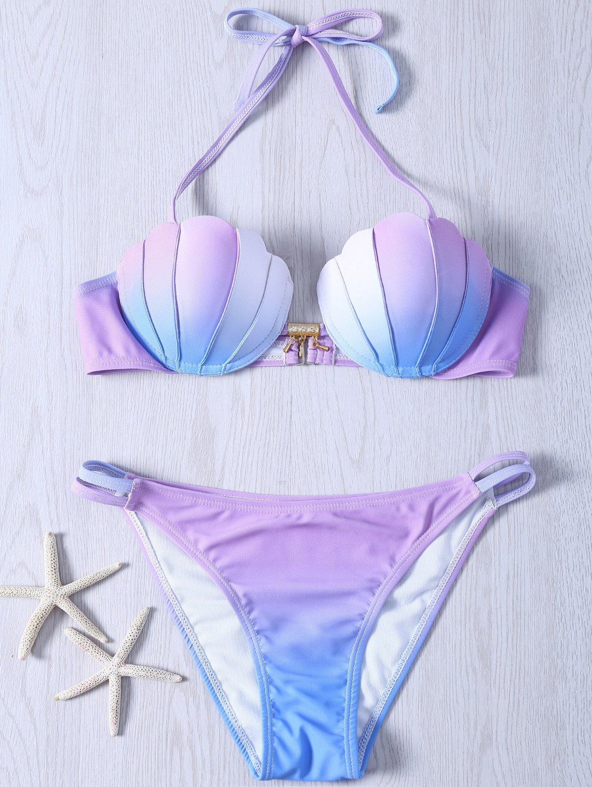 Elegant Halter Gradient Color Bikini Swimwear - COLORMIX 2XL