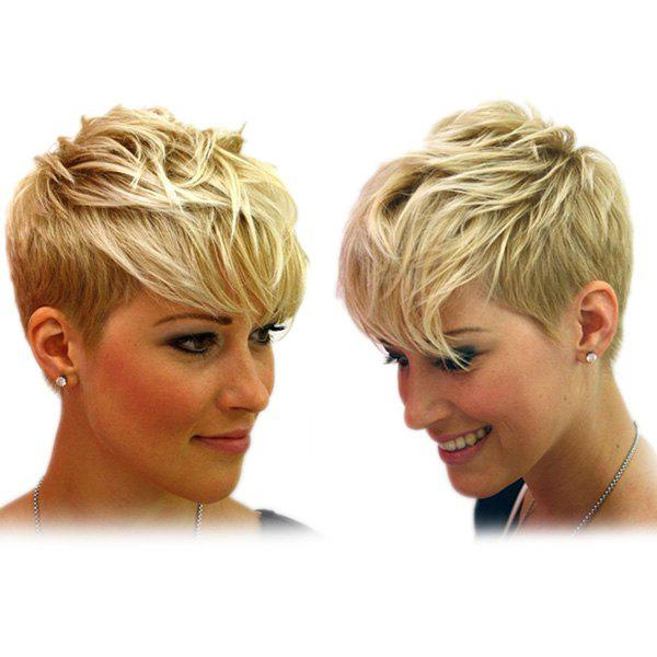 Handsome Women's Mixed Gold Short Fluffy Side Bang Synthetic Wig