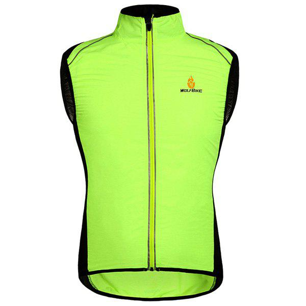 Chic Quality Breathable Windproof Cycling Waistcoat For Unisex - NEON GREEN S