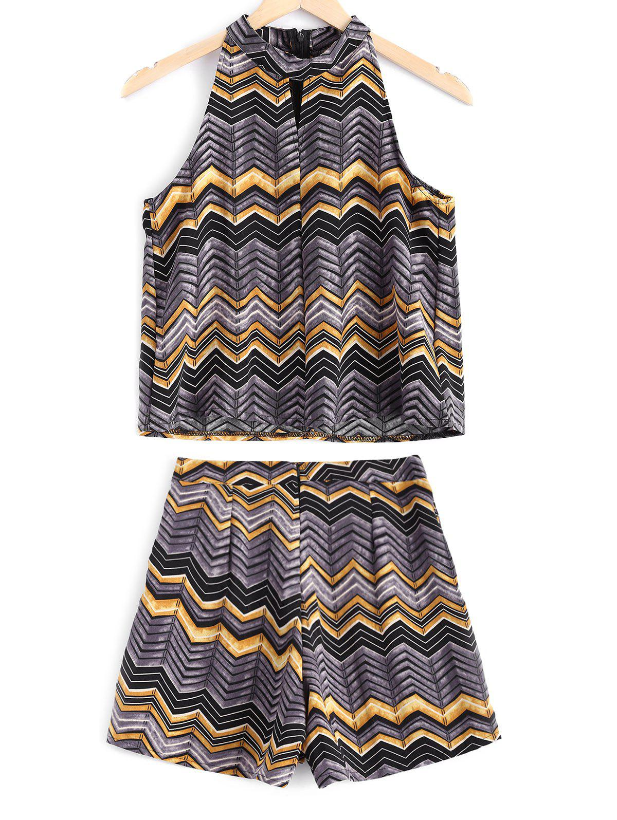 Stylish Women's Jewel Neck Cut Out Print Top and Zipper Fly Print Shorts Set girls cut and sew top
