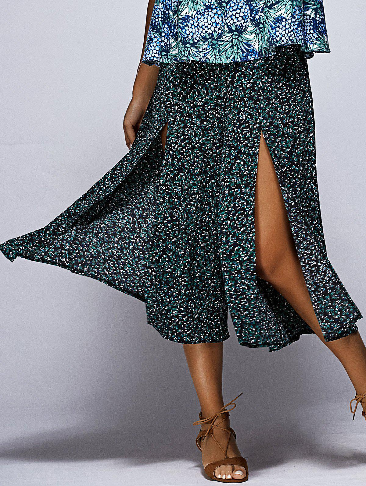 Chic Floral Print High Slit Women's Culotte - GREEN ONE SIZE(FIT SIZE XS TO M)