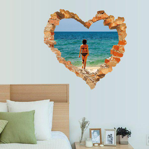 Personality 3D Broken Wall Ocean Scene Beauty Pattern Wall Art Sticker 3axis mini cnc router ly cnc3020z vfd1 5kw engraving machine with sink cnc cutting machine