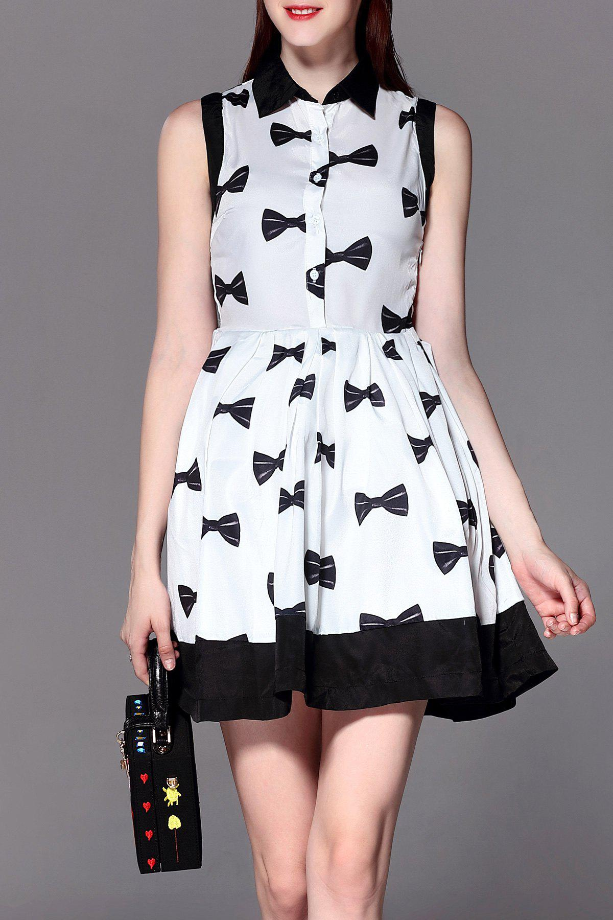 Bowknot Print Flare Dress - WHITE L