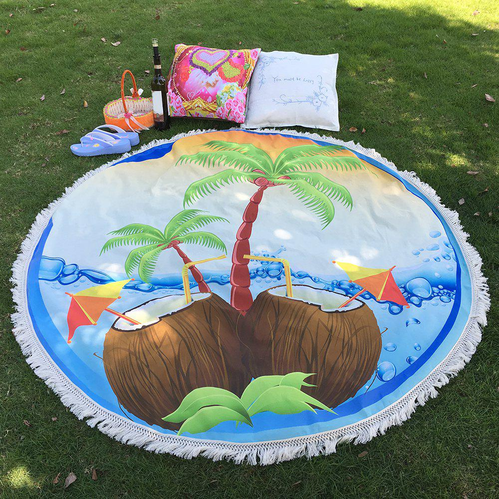 Tropical Bikini Boho Fringed Edge Coconut Tree Round Beach Throw Scarf Throw Yoga Mat striped beach throw with ball trim