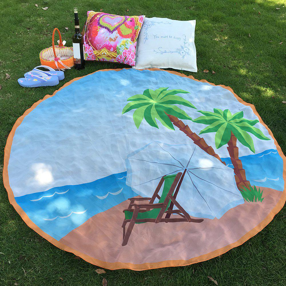 Tropical Style Bikini Boho Swimwear Cozy Chair Coconut Tree Chiffon Round Beach Throw Scarf - LIGHT BLUE