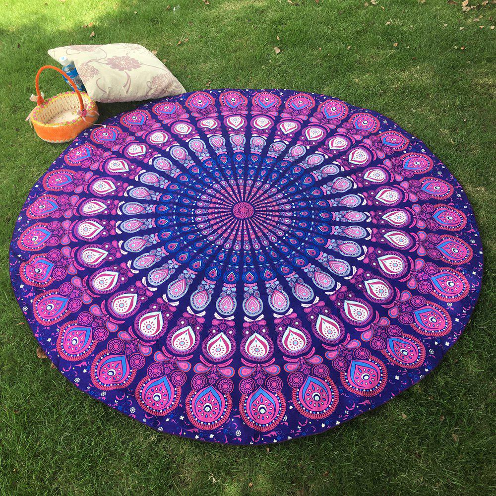 Tropical Style Bikini Boho Swimwear Arab Print Comfortable Round Beach Throw Scarf - PURPLE