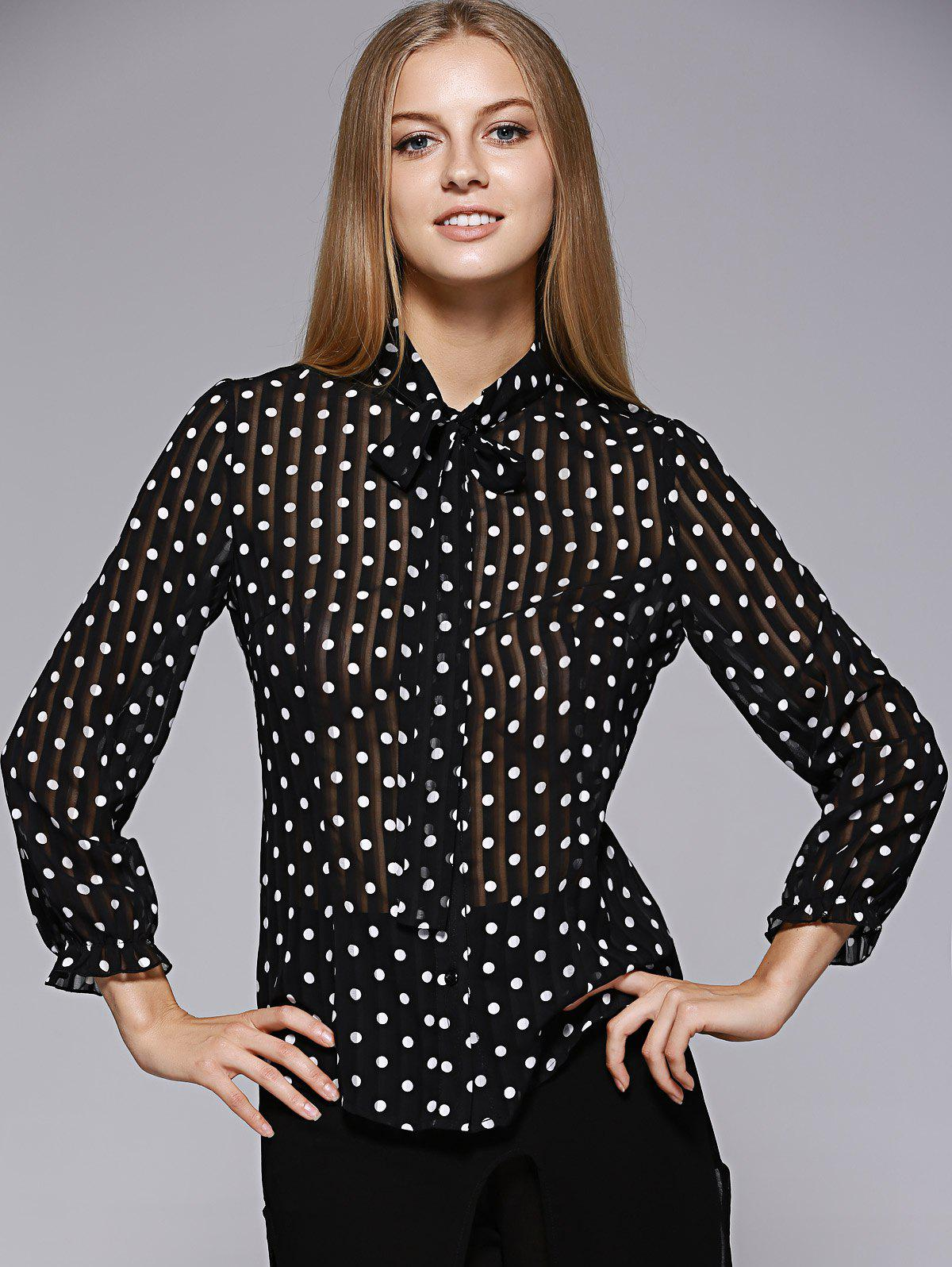 Fashionable Bow Tie Collar Dot Printing Blouse For Women - WHITE/BLACK XL