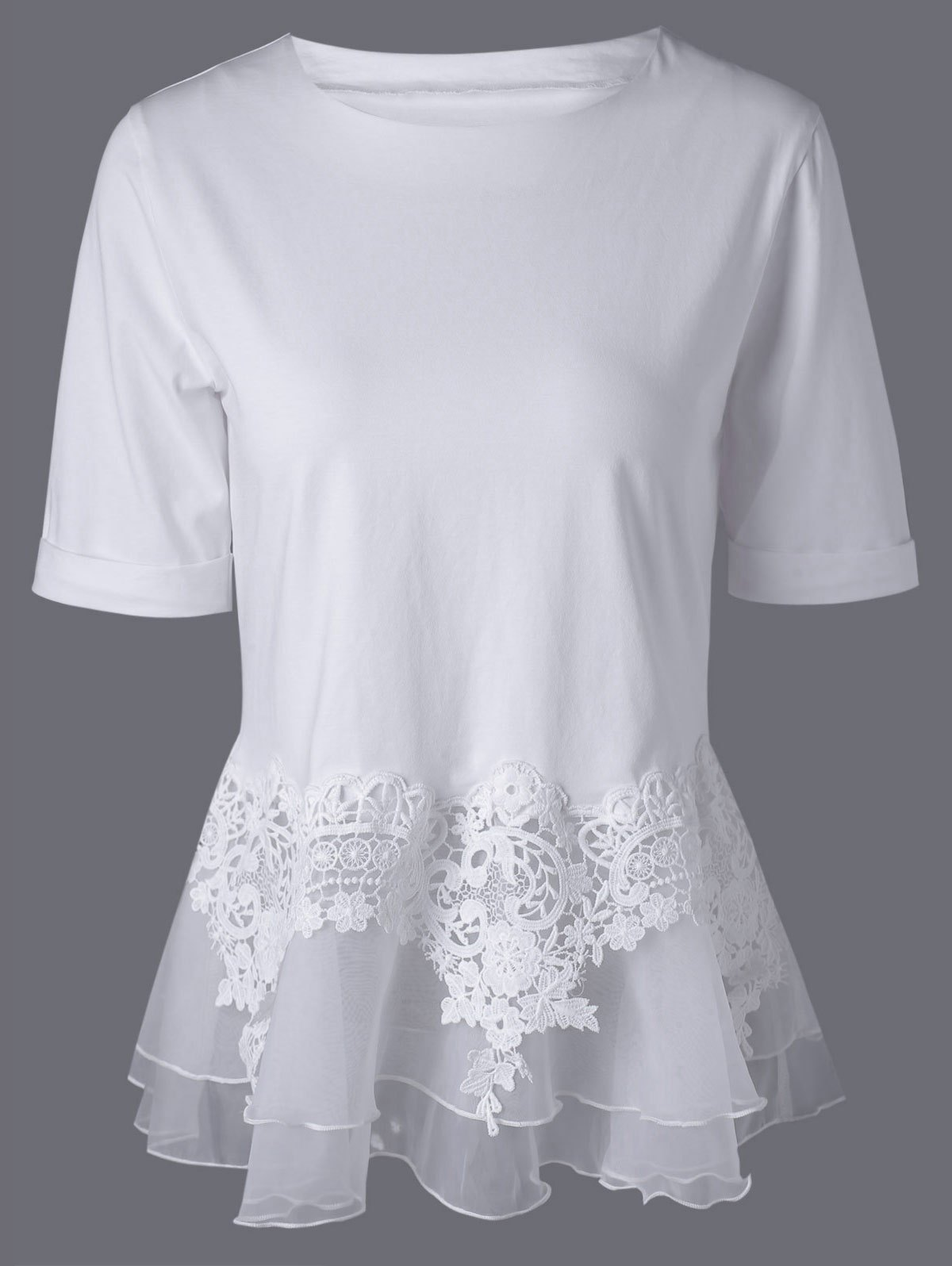 Lace Splicing Layered Peplum Blouse - WHITE XL