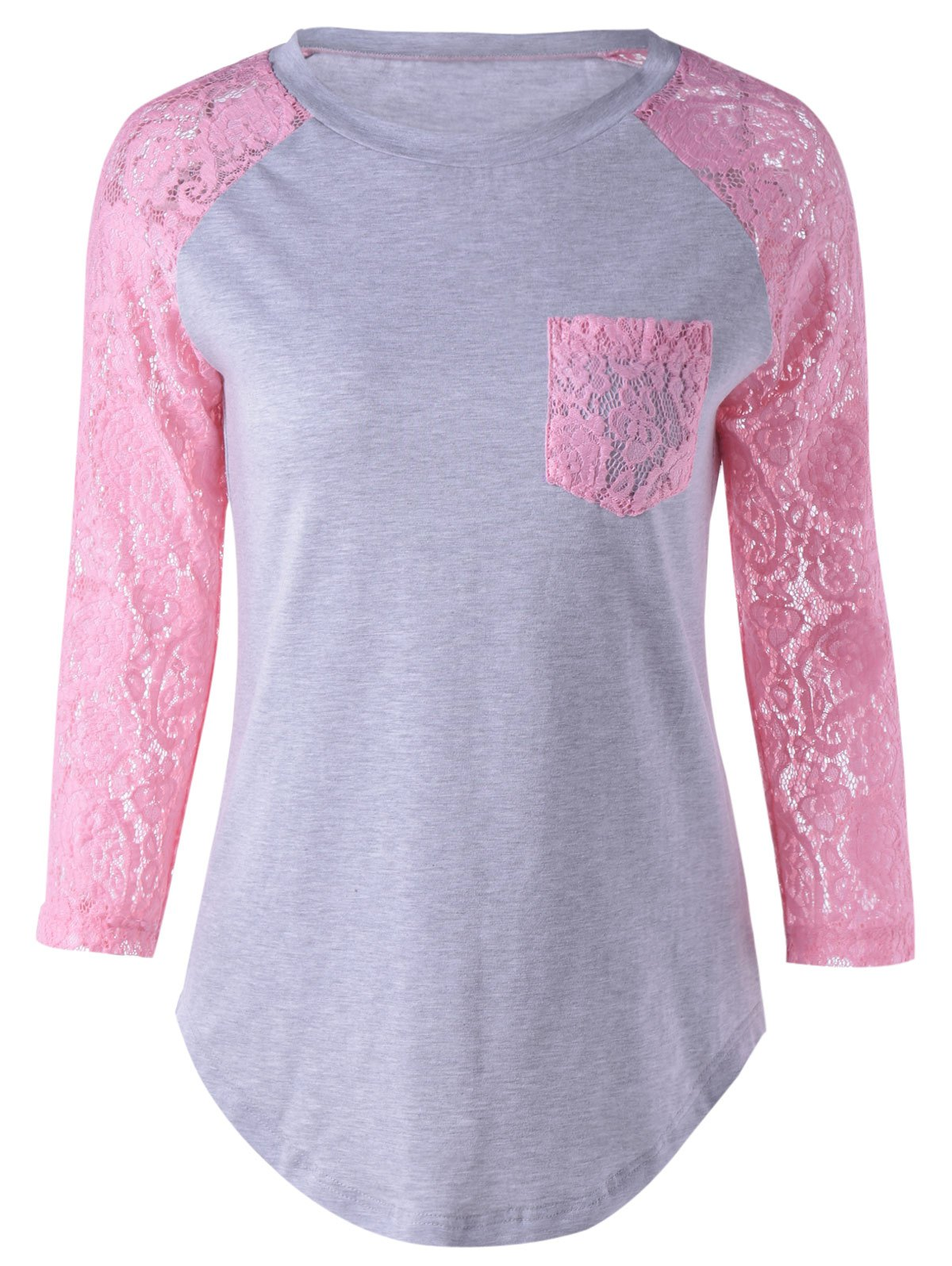 Single Pocket Lace Splicing T-Shirt - PINK / GRAY XL