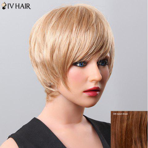 Delicate Short Inclined Bang Women's Siv Human Hair Wig - AUBURN BROWN