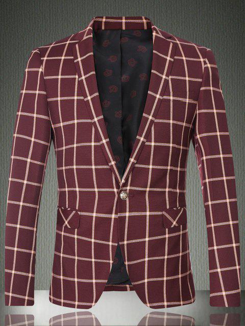 Lapel Long Sleeve One Button Design Checked Men's Blazer - WINE RED M