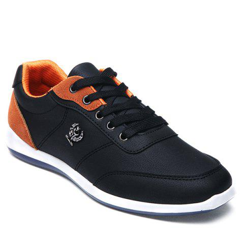 Fashionable Colour Splicing and Metal Design Men's Casual Shoes - BLACK 42