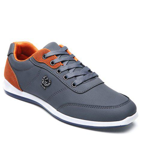 Fashionable Colour Splicing and Metal Design Men's Casual Shoes - GRAY 41
